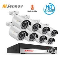 Jennov 5MP 4CH Audio Record System Video Surveillance Kit POE NVR Kit Home Security Camera System IP Camera Outdoor CCTV Set