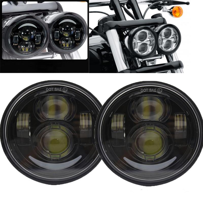 Moto phares pour Moto Dyna gros Bob Style projecteur 4.5 pouces haut/bas faisceau double phare phare LED avec lumière DRL