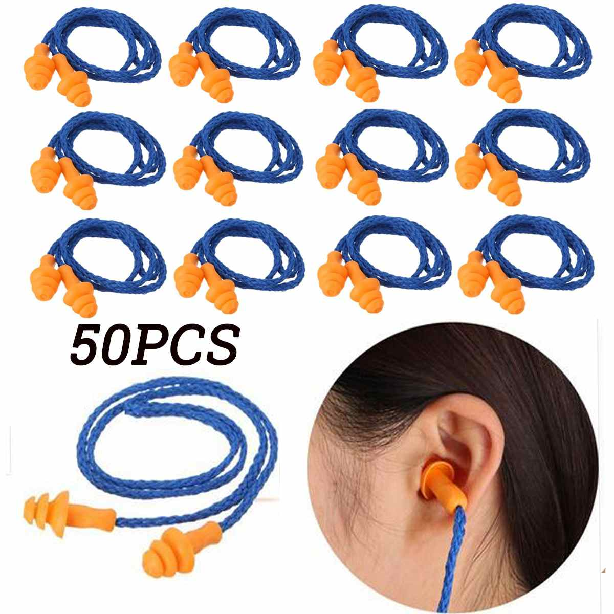 50Pcs Soft Silicone Corded Ear Plugs Ears Protector Reusable Snore Sleep Hearing Protection Noise Reduction Earplugs Earmuff
