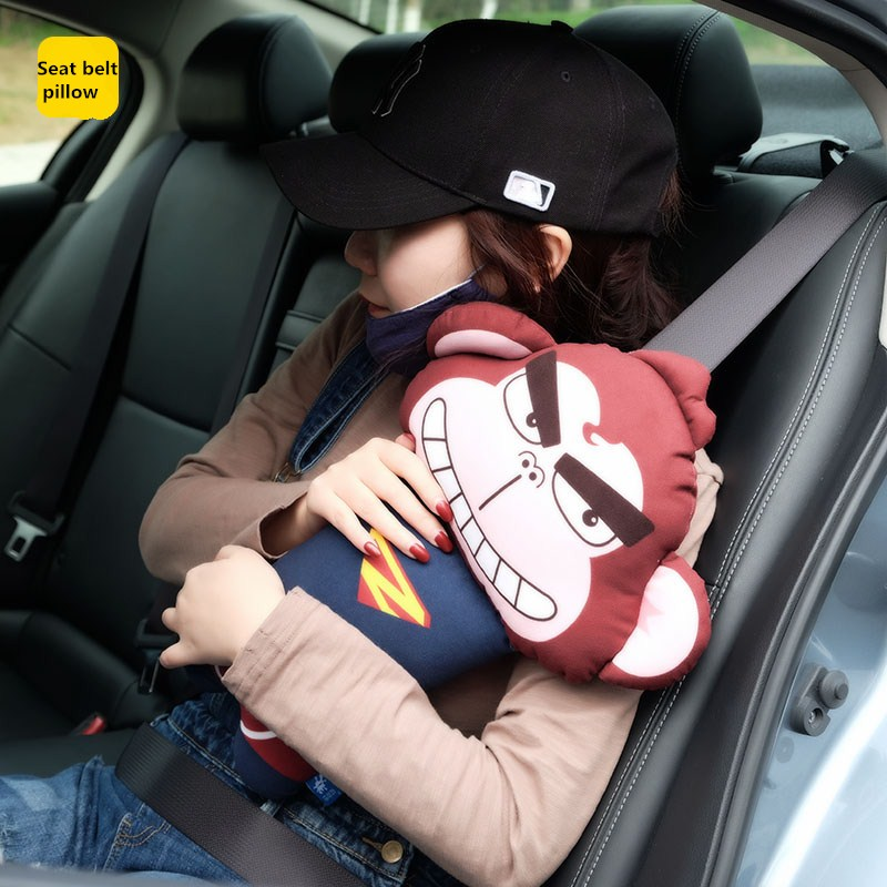 Cartoon Car Seat Belt Cover For Kids Safety Childs Pillow Toys Seatbelt Shoulder Pad Short Plush Spiderman Accessories In Belts Padding From