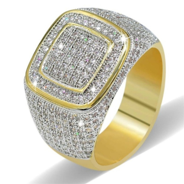 3125b9d47 Big Rings for Men Women Iced Out Bling Square Ring Hip Hop Micro Pave  Rhinestone Ring Gold Color Jewelry Accessories Z4N942