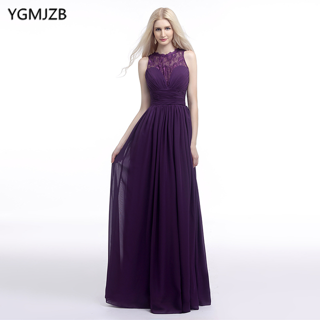 92f0711f7af5 Cheap Bridesmaid Dresses 2018 A Line O Neck Floor Length Chiffon Lace  Wedding Party Dress Purple