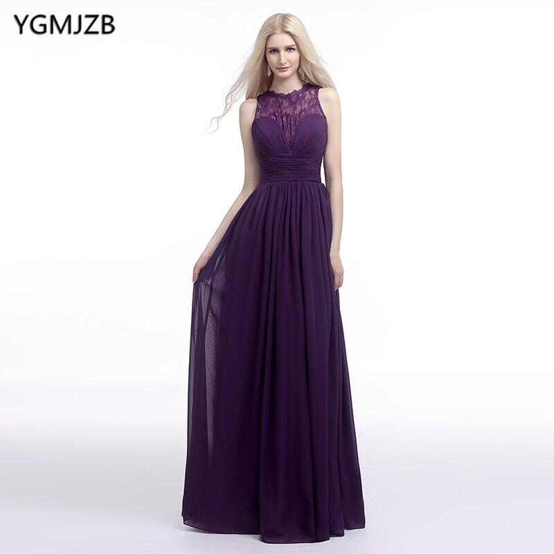 Cheap   Bridesmaid     Dresses   2019 A Line O Neck Floor Length Chiffon Lace Wedding Party   Dress   Purple Long   Bridesmaid     Dress