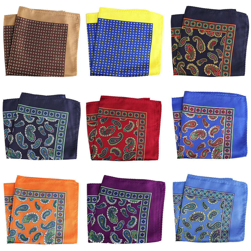 NEW Distinctive 32 X 32 CM Large Handkerchief Man Paisley Print Dot Pocket Square Men Floral Casual Hankies Wedding Acessories
