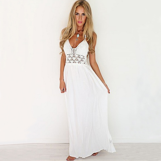 Beroemd White Maxi Dress Summer New Arrival Women Sexy Boho Style Beach  QF38