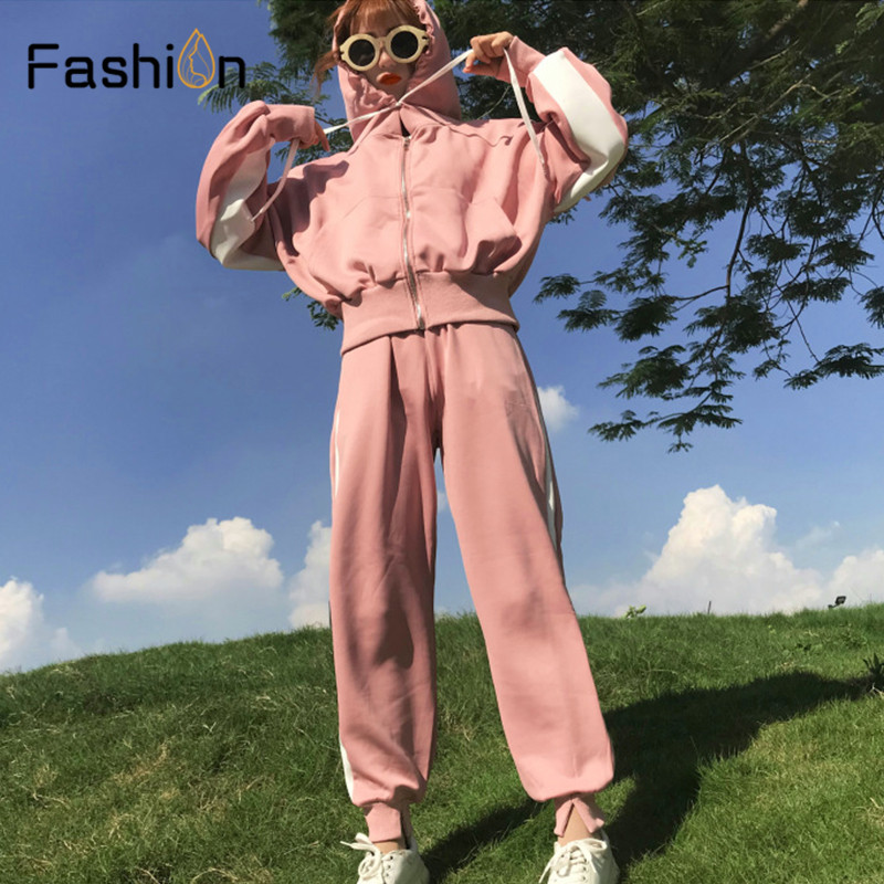 Women Hooded and Long Pants Sets Full Sleeve Tracksuit Sexy Spring Autumn Ladies Outfit Two Piece Set Sportswear Sweat Suit 2