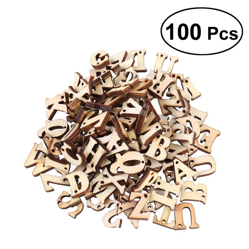 50/100PCS Wooden DIY Unfinished Capital Letters Alphabet Crafts Wood Cutout Discs with Holes For Patchwork Scrapbooking Decor