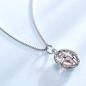 Image 2 - UMCHO Luxus Rosa Saphir Morganite Anhänger Für Frauen Echt 925 Sterling Silber Halsketten Link Kette Schmuck Engagement Geschenk Neue