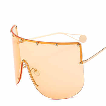 Vintage Retro Shield Visor Sunglasses Women Men 2019 Oversized Windproof Glasses One Peice Big Frame Goggles Sun Glasses NX