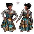 BRW Базен Riche Африканские Воск Печати Платья Хлопок Кружева Лоскутная Партия Dress Dashiki Традиционных Африканских Одежды для Женщин WY988