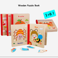 6 Pages Wooden Puzzle Book Wood Material Animal Fruit 3D Puzzle Toys For Children Educational Learning