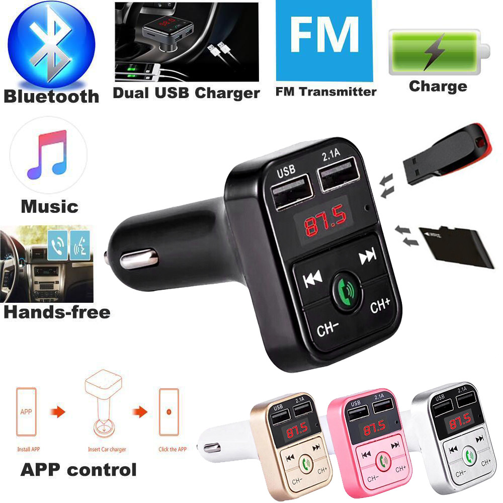 Top Quality Dual USB Bluetooth4.1 Handsfree Car Kit Charger FM Transmitter MP3 Player A2B2 portable chargerdrop shopping
