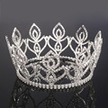 New Arrival big Royal king victoria loop silver plated crystal rhinestones full crowns tiara and crowns Miss Universe Headpieces