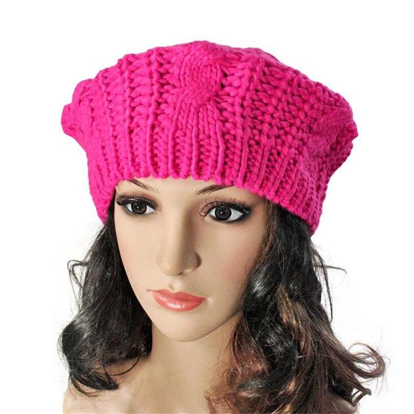 100% Wahr Yrrety 2019 Outdoor Winter Warme Mode Frauen Dame Beret Geflochtene Hüte Baggy Beanies Crochet Einfache Hut Ski Cap Wolle Gestrickte Kappen