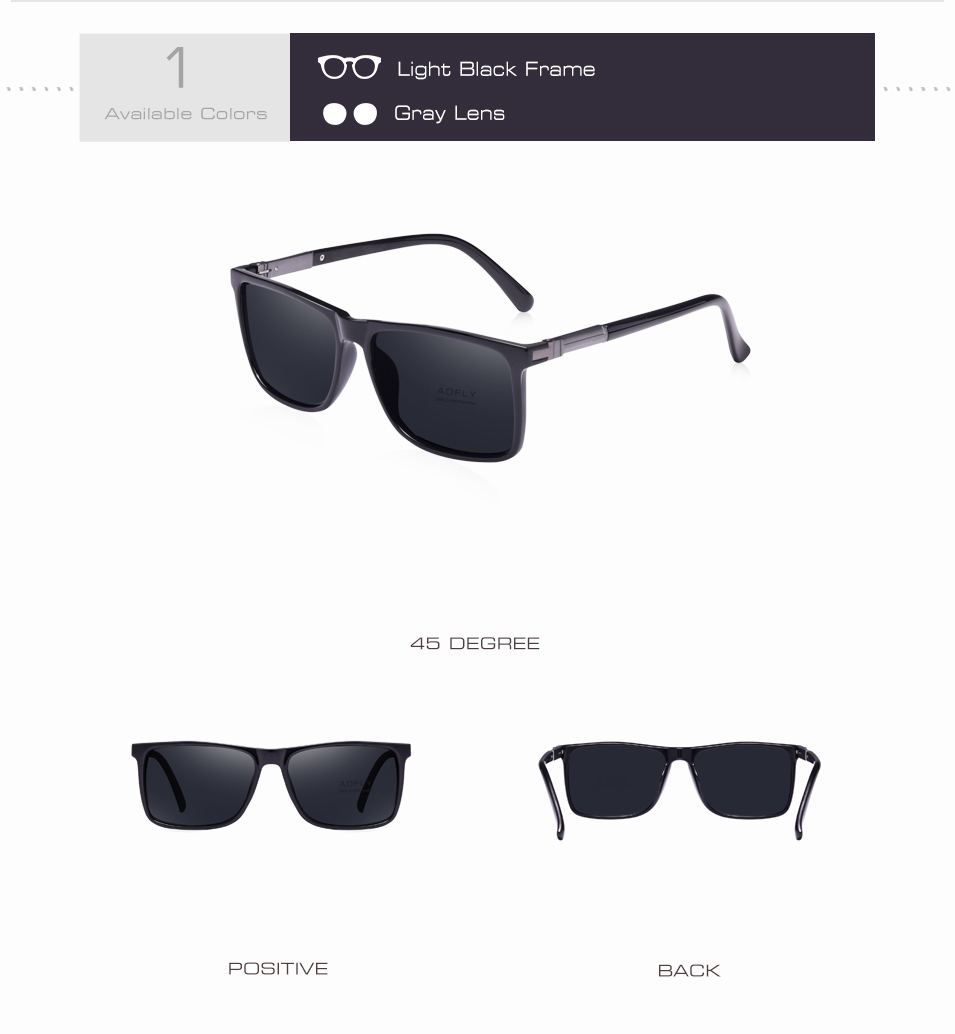 f97145cf603 AOFLY BRAND DESIGN Classic Black Polarized Sunglasses Men Driving ...