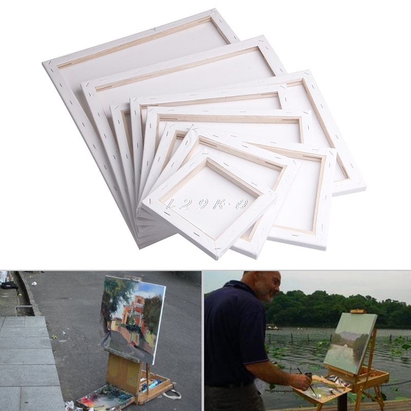 White Blank Square Artist Canvas Wooden Board Frame For Primed Oil Acrylic Paint image