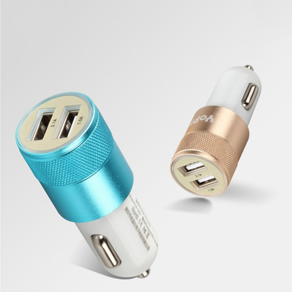 Colored usb car charger - Micro Auto Universal Dual Usb Car Charger For Iphone Samsung 5v 2 1a Adapter 5 Colors