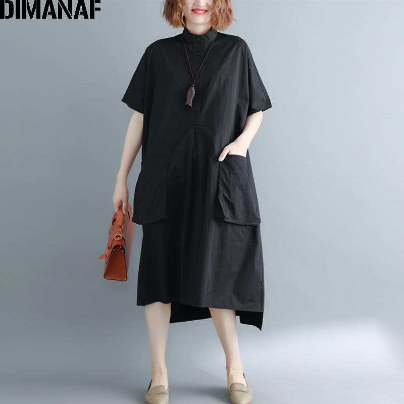 DIMANAF Plus Size Women   Blouse     Shirts   Lady Tops Summer Female Clothes Solid Black Loose Casual Big Size Long   Shirt   Dress 2019