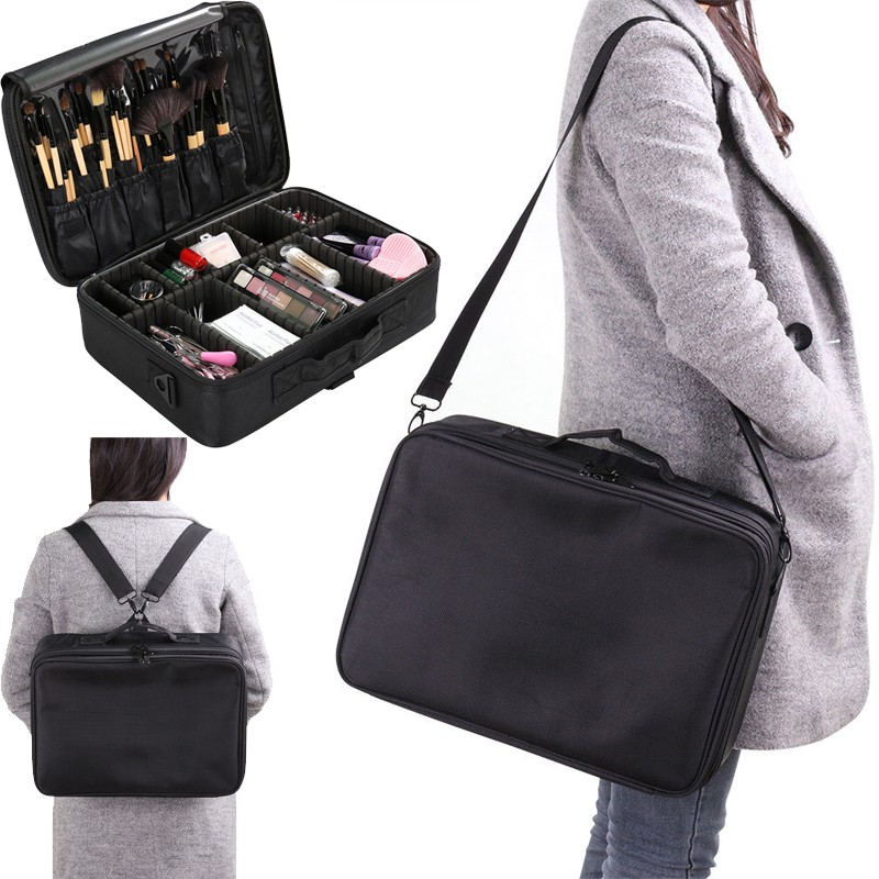 цена на Multifunction Large Black Makeup Bag Professional Organizer Shoulder Case Cosmetic Bag Big Capacity Storage Art Tool Box