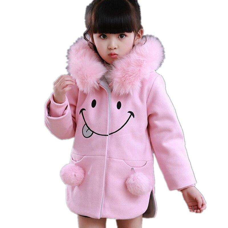 ФОТО 2016 New Fashion Autumn Winter Girl Clothes Long Sleeve Hooded Kids Woolen Cloth Coat Cartoon Princess Warm Children Coat HL0533