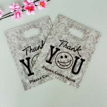 50PCS/Lot Lovely Thank You Print Plastic Gift Bag With Handle Party Favor Mini Jewelry Boutique Packaging Shopping Bags