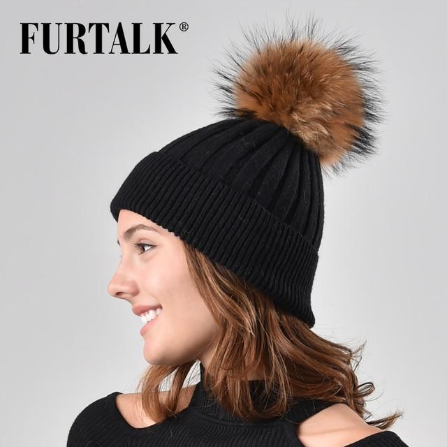 582593595726f9 FURTALK Real Fur Pompom Winter Women Hat Knitted Beanie Hats for Girls Wool  Rabbit Hair Hat