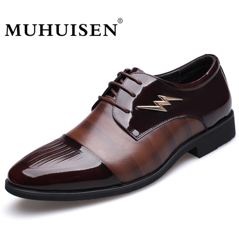 MUHUISEN Hot Sale Men Dress Formal Shoes Fashion Wedding Genuine Leather Business Shoes Lace-up Flats Oxford Shoes christia bella fashion men oxford shoes genuine leather black white business men dress shoes lace up office wedding formal shoes