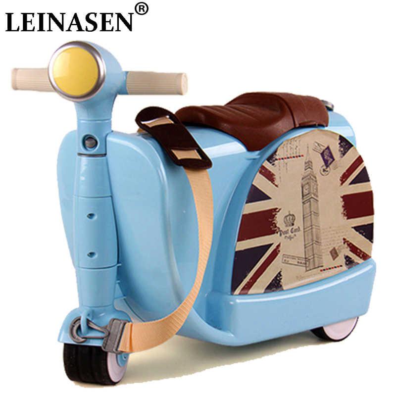 Детская дорожная сумка с замочком для мальчиков и девочек, креативная коробка для игрушек, чемодан, чемодан, коробка с тяговым стержнем, может сидеть, чтобы кататься в клеточку, детский подарок