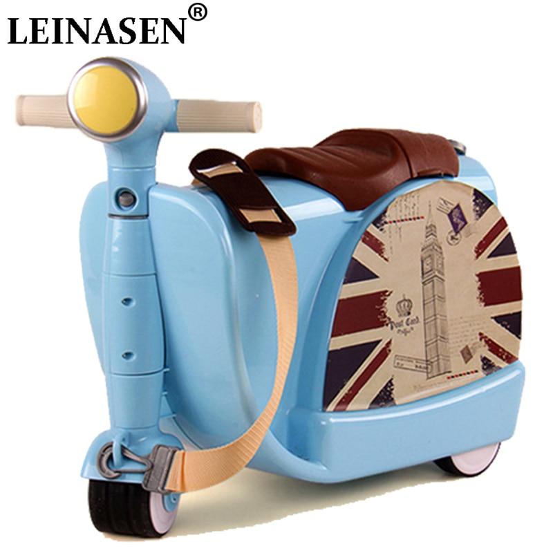Enfants voyage casier sac à main garçon fille bébé creative jouet boîte bagages valise tirer tige boîte peut s'asseoir pour monter boîte à cocher enfant cadeau