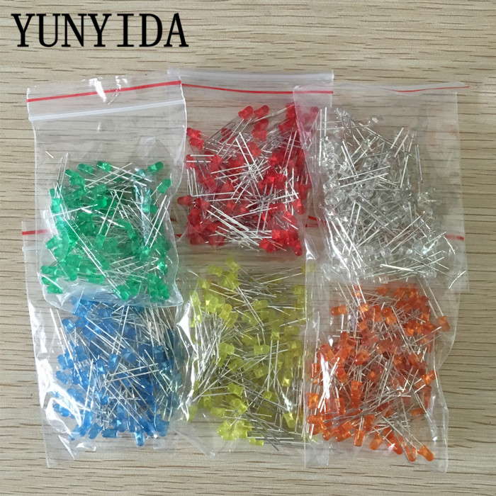 600pcs(6 colors x 100pcs) White Red Green Blue Yellow Orange 3mm 20mA Diffused Light-Emitting Diode LED 3V Lamp Assorted Kit Set