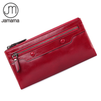 Jamarna Genuine Leather Wallet Women Long Clutch Red Purse Card Holder Coin Wallet Female Double Zipper Wallet For Women