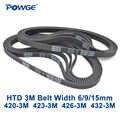 POWGE HTD 3m courroie C = 420 423 426 432 largeur 6/9/15mm Dents 140 141 142 144 HTD3M synchrone 420-3M 423-3M 426-3M 432- 3m