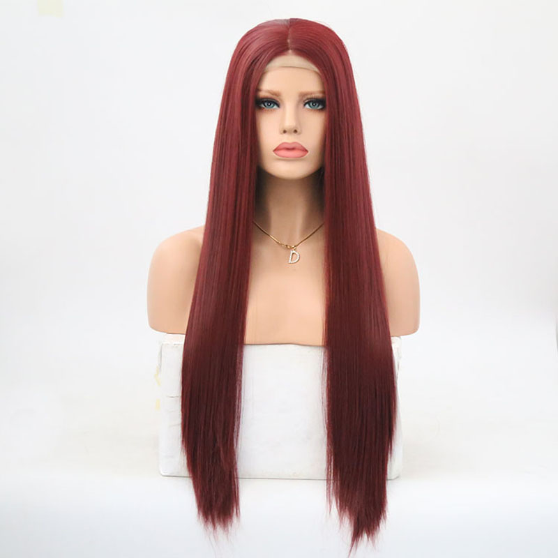 Charisma Burgundy Red Lace Front Wigs Long Synthetic Wig For Women Cosplay Glueless Heat Resistant Hair