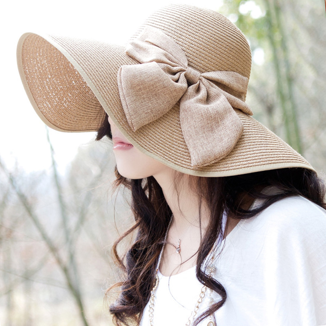 casquette enfant garcon 2019 Ladies Summer Large Brim Straw Hat Floppy Wide Brim Sun Cap Bowknot Beach Foldable New in Women 39 s Sun Hats from Apparel Accessories