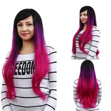 цена на Natural Wave Long Black Purple Pink Ombre Lolita Wig Cosplay Costume Synthetic Colorful Hair Wigs For Women Christmas Party