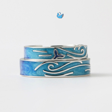Creative Style Silver Couple Rings Blue Drop Glaze Whale Wave Retro Opening For Men and Women Handmade Jewelry