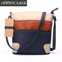 Annmouler Women Patchwork Shoulder Bag 4 Colors Crossbody Bag Tote Bag Three Zipper Messenger Bag High