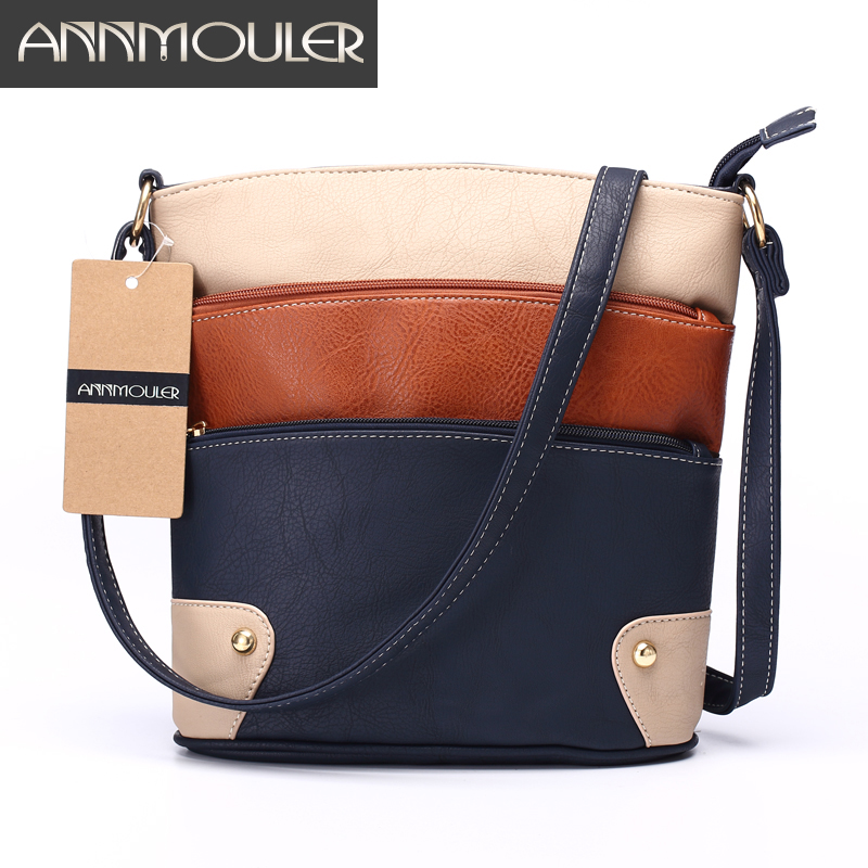 Annmouler Women Patchwork Shoulder Bag 4 Colors Crossbody Bag Tote Bag Three Zipper Messenger Bag High Quality Bolsos Mujer
