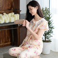 Floral Pajamas Female Spring And Summer Sweet 100% Woven Cotton Women Sleepwear Short-Sleeve Lounge Set Plus Size Free Shipping