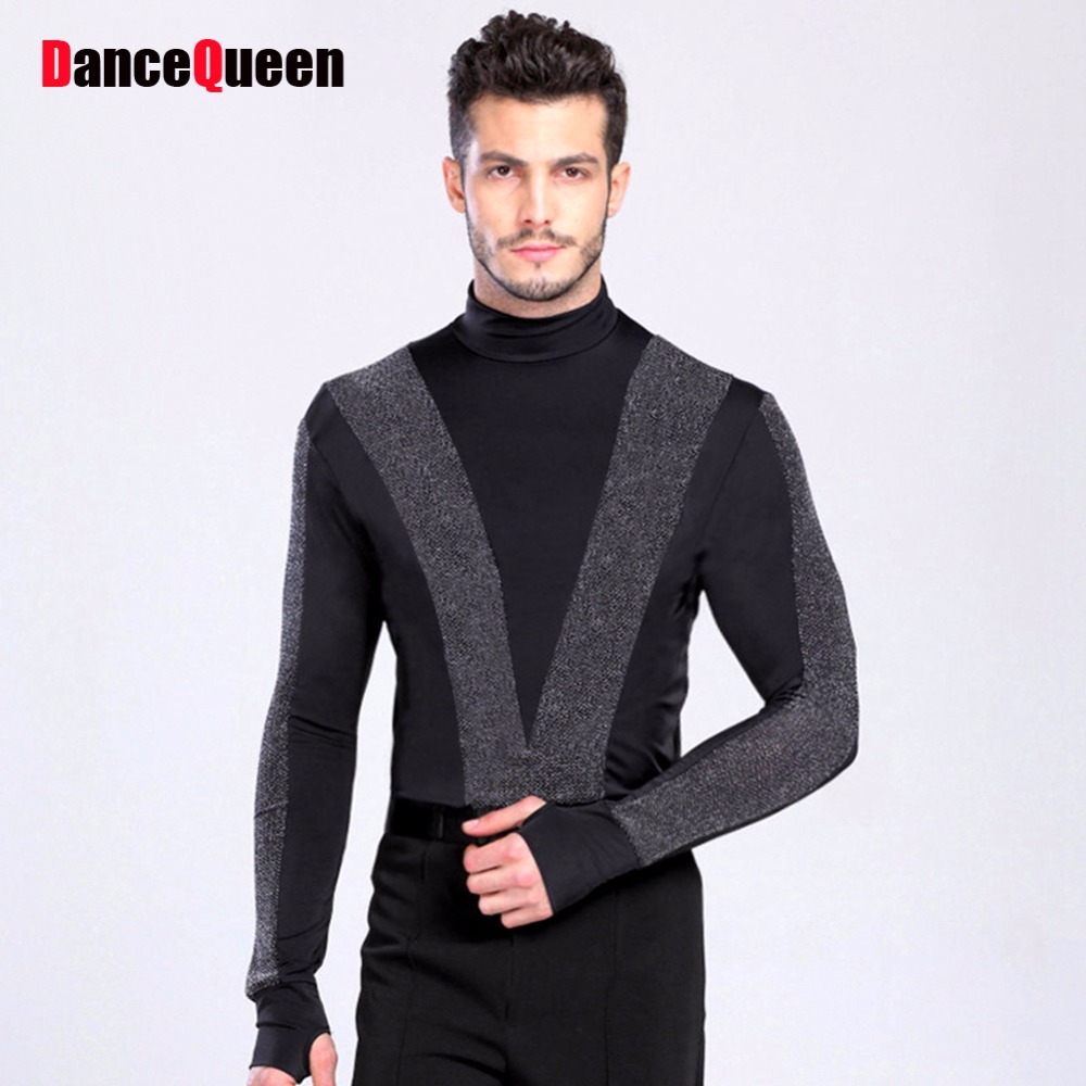 2018 New Arrival Men Dance Shirt Turtle Neck Long Sleeve Mens Latin Shirts Ballroom Dance Tops Clothing For Dance Wear DQ6027