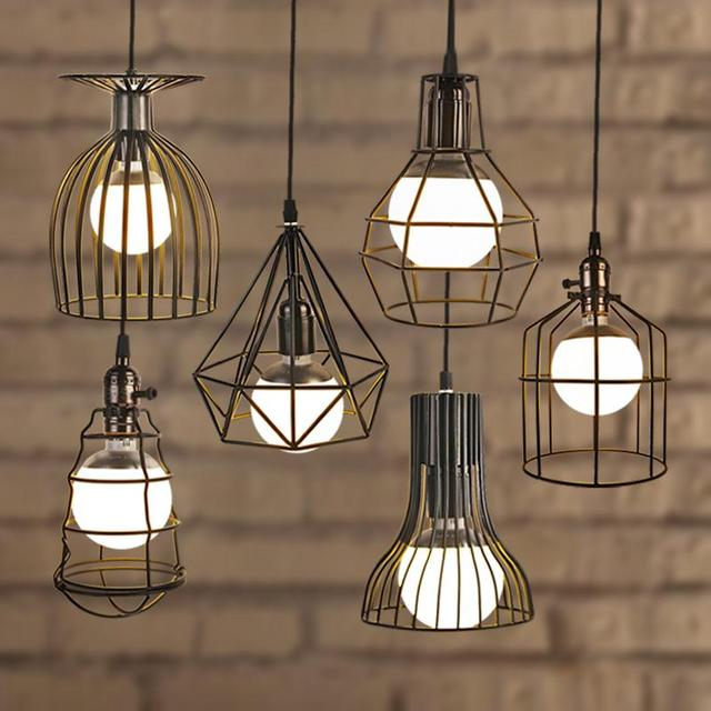 NEW Arrival Loft Vintage Lamp Industrial Retro Iron Pendant Light Bar Cafe Study Restaurant E27 Bulb Wrought Iron Hanging Light