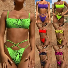 Peachtan Neon green bikini 2019 micro Sexy leopard swimsuit female Push up bandeau swimwear women bathing suit biquini Summer(China)