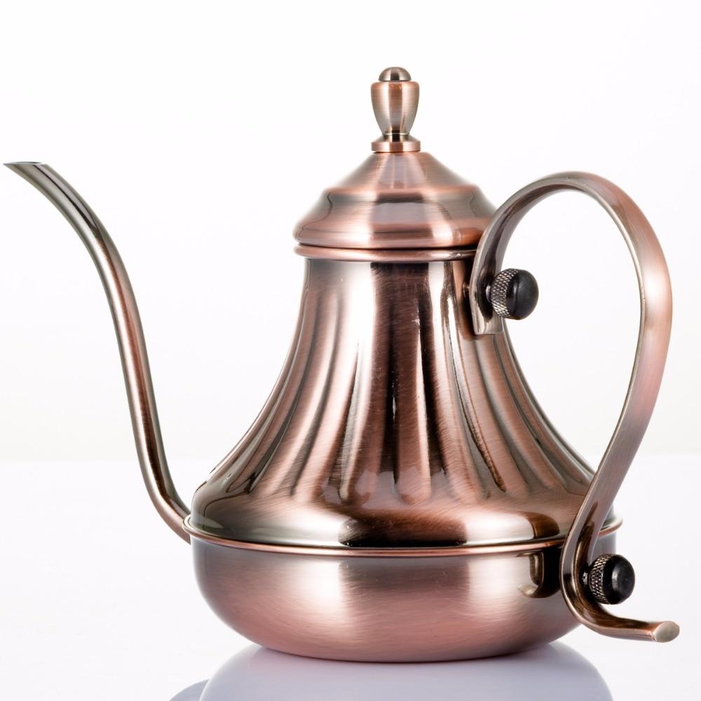 Droppkokare Gooseneck Kaffekokare Fantastisk Köksmjölkfrysta Kanna Te Pot Rostfri Stålkopp Kok 600 ml