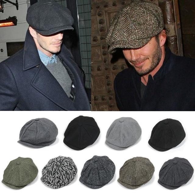 David Beckham Moda Caballero Tapa Octogonal Casquillo Del Vendedor de  Periódicos de La Boina Sombrero de 1527b62c611