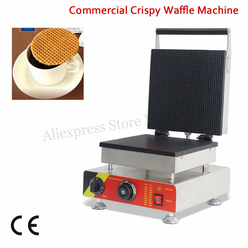 Big Pan 25x25cm Ice-cream Cone Waffle Baker Maker Crispy Egg Roll Machine 1500W 220V 110V for Home Restaurant Cafeteria