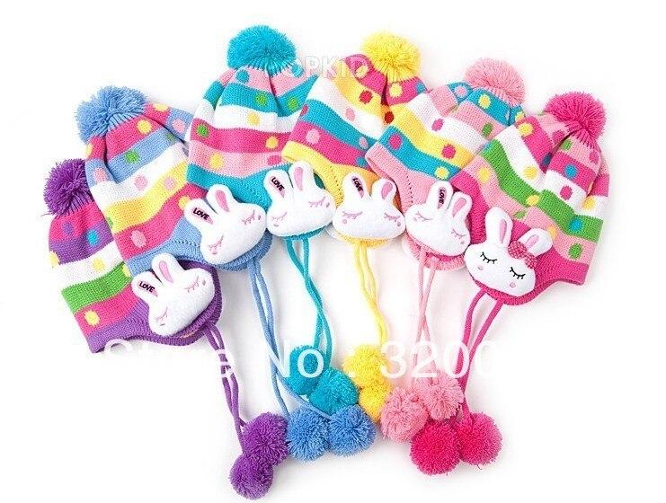 1 шт., 2013New дети точка заячьи ушки защиты вязаная шапка, Зимняя мода теплую шапку, Шапки многоцветный