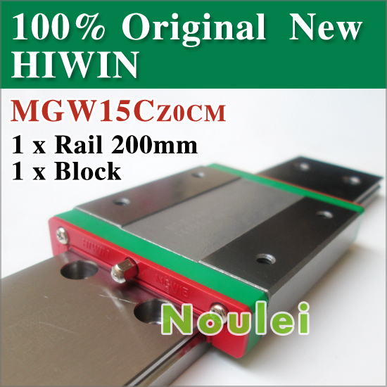 mini cnc HIWIN linear guideways MGWR15 200mm + 1 pcs MGW15C slider block MGW15 of 42 mm rail MGW 15 series atlanta ath 855