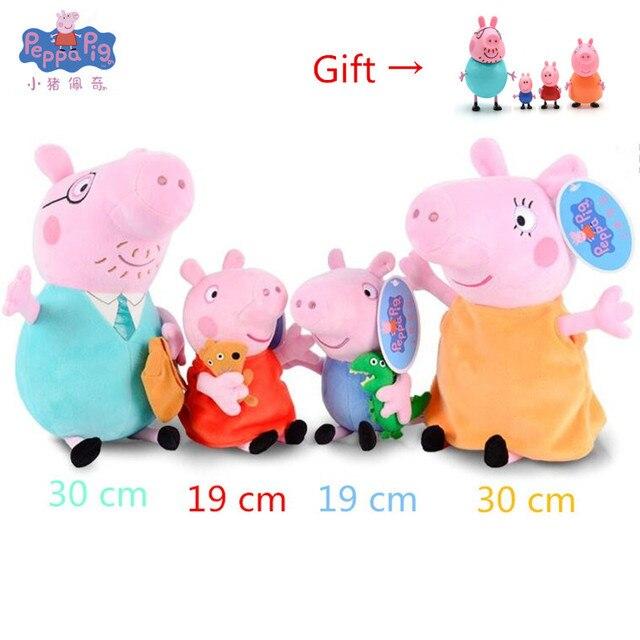 Original 4 pçs/set Pacote Brinquedos Porco Família Peppa Pig família Brinquedos de Pelúcia Bichos de pelúcia Brinquedos de Pelúcia boneca de presente Por Atacado