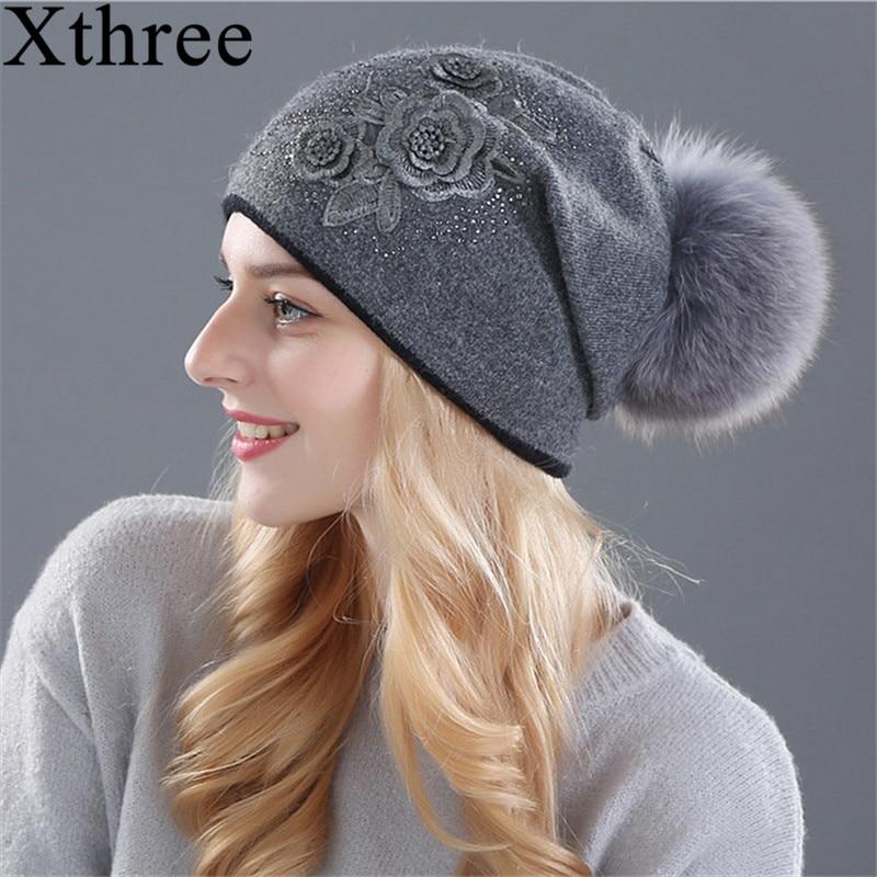 Gorro de invierno para mujer Xthree Sombrero de punto de lana de piel de conejo La hembra de los sombreros de visón para gorritas tejidas