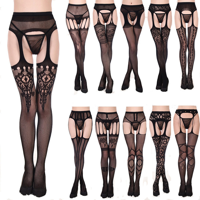 <font><b>16</b></font> Styles Women <font><b>Sexy</b></font> Hollow Out Fishnet Stockings Lace Top Garter With Thigh High Stockings Female Erotic Crotchless Tights image
